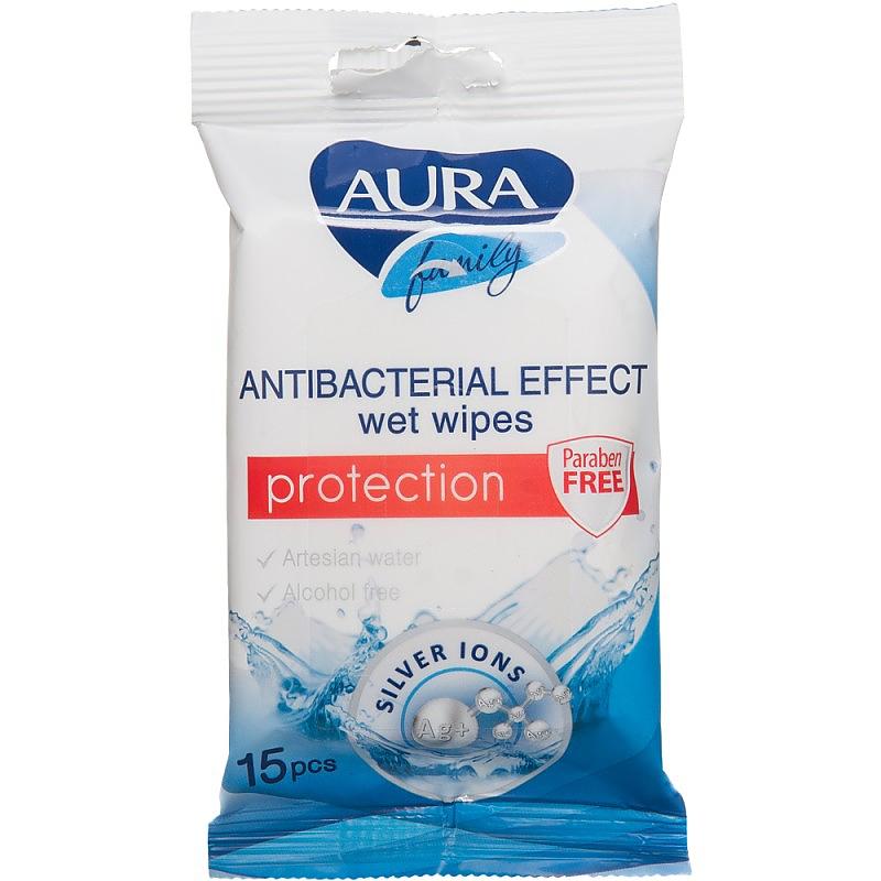AURA FAMILY antibakteriální vlhčené ubrousky 15ks