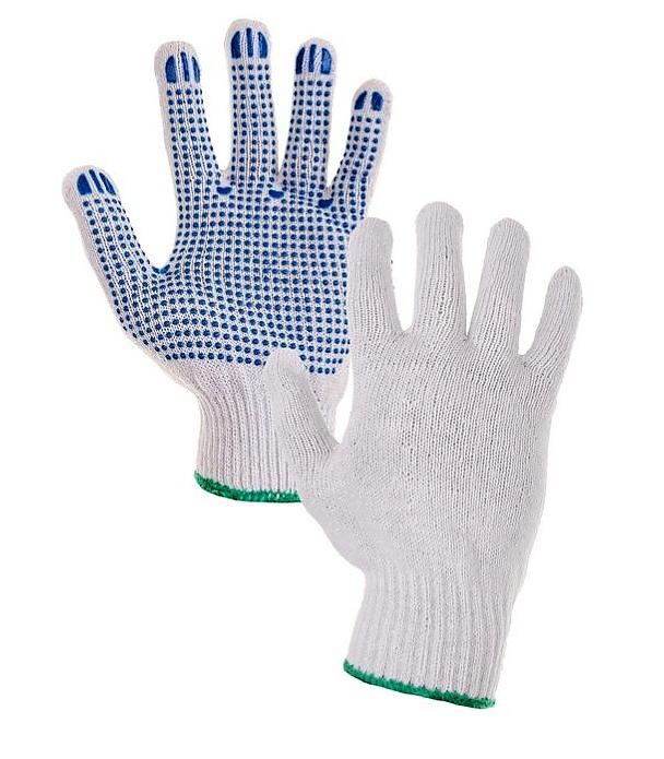 Rukavice FALO textilní s modrými PVC terčíky - L