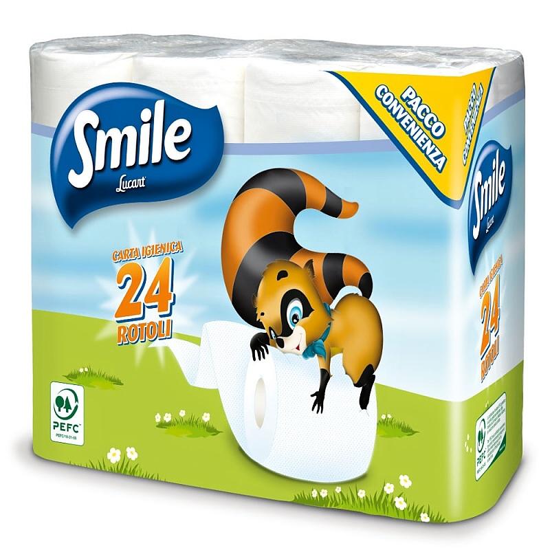 SMILE toaletní papír 2-vrstvý bílý 100% cel. 17m