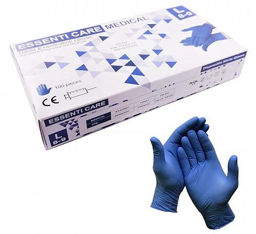 ESSENTI CARE rukavice NITRILOVÉ modré MEDICAL S