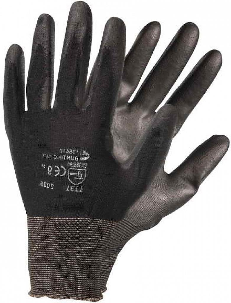 Rukavice BUNTING BLACK nyl.úplet