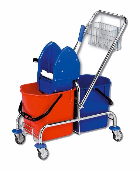 Vozík ROLL-MOP 2x15l s košíkem a ždímačem KOV